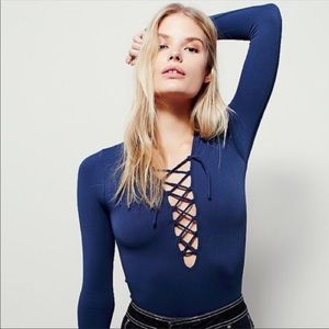 Free People Intimately Lace Up Blue Layering Top